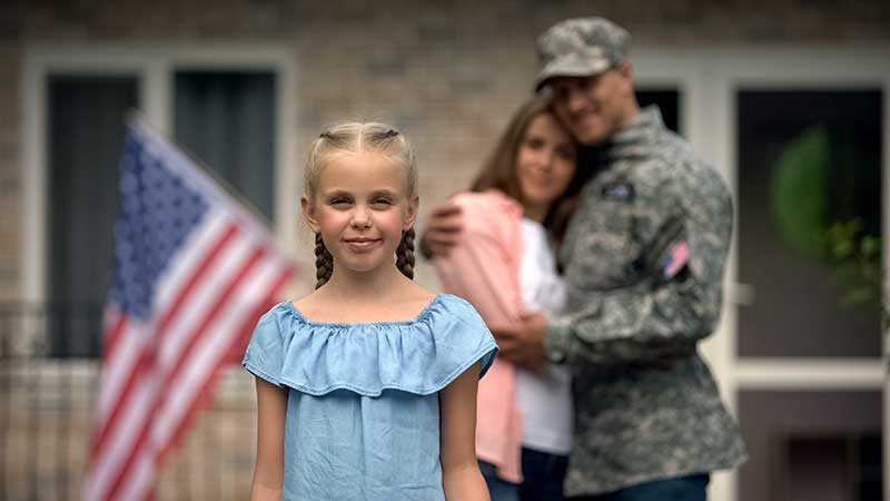 Little girl, mother, military father